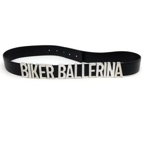 "Moschino Black / Silver ""Biker Ballerina"" Belt"